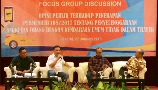 FGD mengenai opini publik terhadap penerapan Permenhub 108/2017 yang diselenggarakan oleh Badan Pengelola Transportasi Jabodetabek (BPTJ) di Redtop Hotel, Pencenongan, Sabtu (27/1).