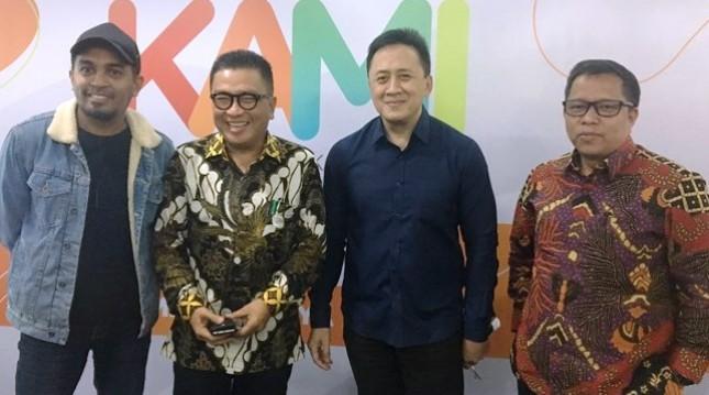Glenn Fredly, Dirut TVRI Helmi Yahya, Kepala Bekraf Triawan Munaf, Dir. Pemberitaan TVRI. Apni Jaya. (Foto: AMZ)