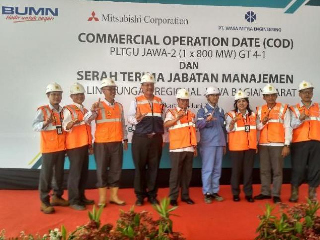 PLN telah menyelesaikan proyek tahap pertama Commercial Operation Date (COD)Gas Turbine (GT) #4-1 proyek Pembangkit Listrik Tenaga Gas Uap (PLTGU) Jawa 2 pada Senin (4/6/2018) di PLTGU Jawa 2, Priok.