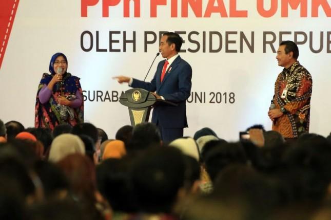 Presiden Jokowi saat peluncuran Pajak Penghasilan (PPh) final UMKM menjadi 0,5% (Dok Industry.co.id)
