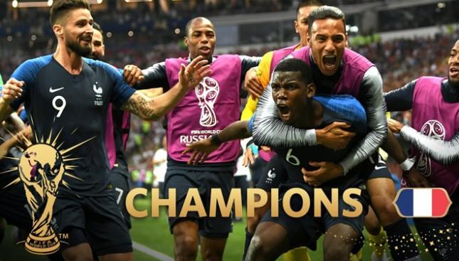 Timnas Prancis berhasil menjuarai Piala Dunia usai menumbangkan Kroasia 4-2 dalam laga final Piala Dunia 2018. (FOTO: @FIFAWorldCup /Twitter)