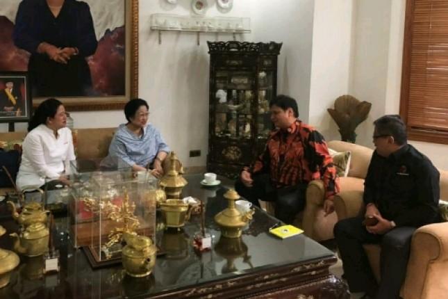 Pertemuan Ketum Golkar Airlangga Hartarto dan Ketum PDIP Megawati Soekarno Hatta