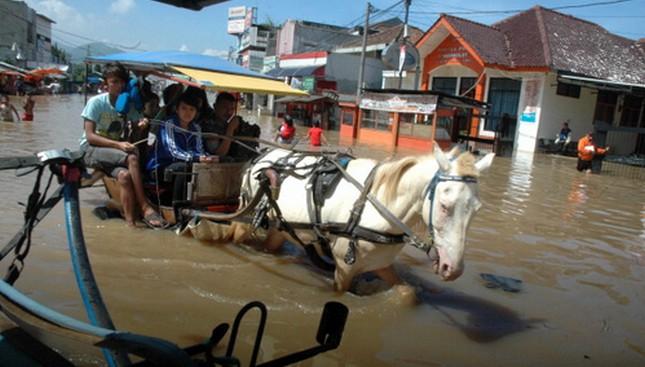 Ilustrasi bencana banjir di Bandung. (Timur Matahari/AFP)