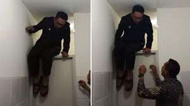 Ridwan Kamil terjebak di toilet (Foto Tribunnews)