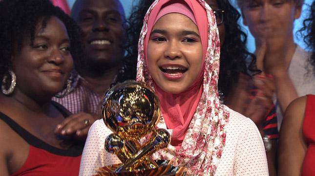 Fatimah Zahratunnisa (Ica), Pemenang 'I Can Sing in Japanese' Musim Gugur 2015 dari Indonesia (Foto:GEM TV Asia, Nippon TV)
