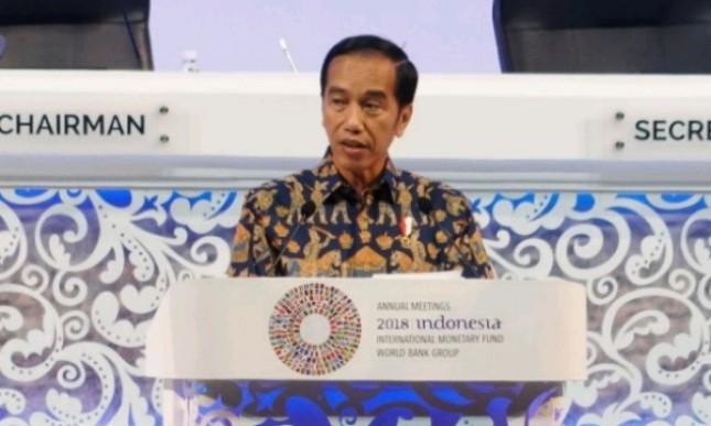 Presiden Jokowi saat menyampaikan sambutan pada pembukaan Annual Meetings IMF-World Bank Group di Nusa Dua, Bali (Foto: Setkab)