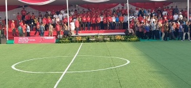 Acara kick off dihadiri perwakilan pecinta sepakbola, para pemain Persija legendaris dan supporter dari berbagai entitas di Jakarta, Kamis (14/3/2019).