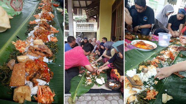 Ngariung, Salah Satu Cara Makan Dalam Tradisi Munggahan Untuk Menyambut Bulan Suci Ramadhan (Chodijah Febriyani/Industry.co.id)