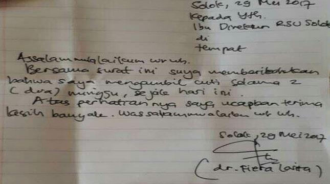 Surat Pengajuan Cuti Kerja dr. Fiera Lovita