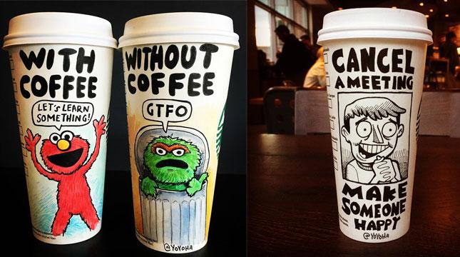 Komik yang digambar di Cangkir Kopi (Foto: yoyoha/Instagram)