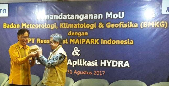 Reasuransi MAIPARK Bersama BMKG Luncurkan Aplikasi HYDRA (Foto Fadli)