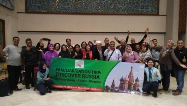 Sebanyak 26 orang wisatawan asal Indonesia berangkat ke Rusia dalam program Tur Muslim Rusia atau Familiarization Trip Discover Russia yang digagas oleh Asphurindo , Senin (9/10/2017) di Bandara Internasional Soetta