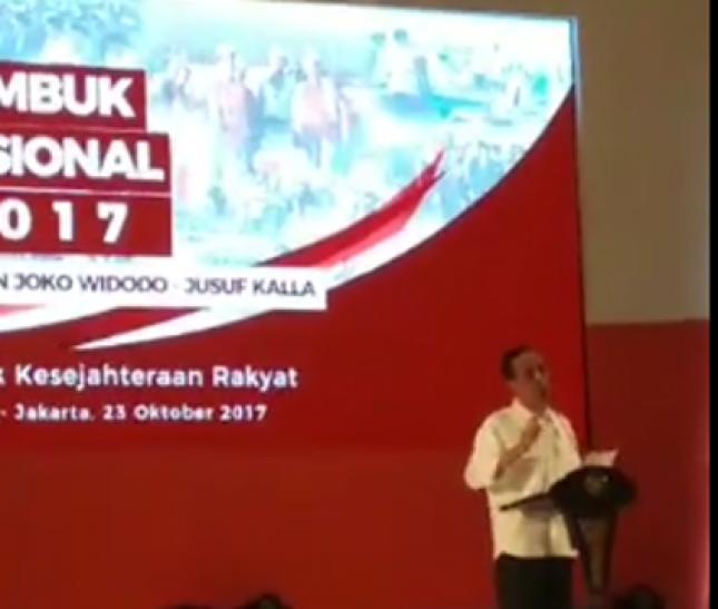 Presiden Jokowi dalam sambutannya saat Rembuk Nasional 2017 (Foto Ist)