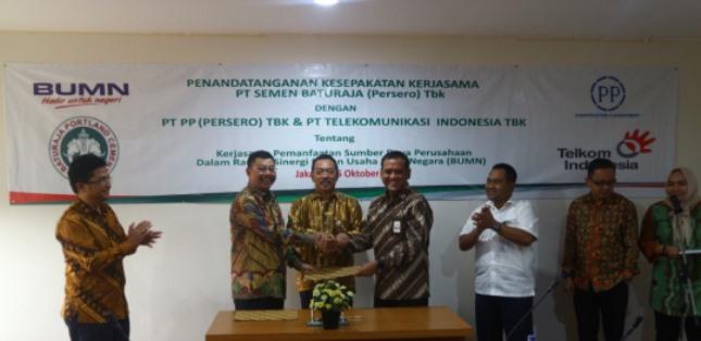 PT Semen Baturaja Gandeng PT PP-PT Telkom Dukung Industri Infrastruktur (Foto Ist)