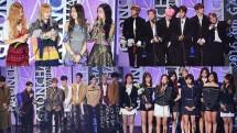 BLACKPINK, BTS, EXO danTWICE saat memenangkan penghargaan di 7th Gaon Chart Music Awards, Seoul (14/2). (Dok Soompi)