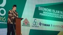 Menteri perindustrian Airlangga Hartarto saat pembukaan NU Expo di Surabaya