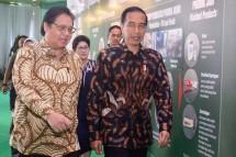 Presiden Joko Widodo bersama Menteri Perindustrian Airlangga Hartarto saat meresmikan pabrik bahan baku obat PT Kalbio Global Medika (Foto: Humas)