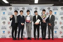 Boyband BtoB saat di acara press conference Duta Pariwisata Korea Selatan 2018 bersama Korea Tourism Organization. (Source: VisitKorea)