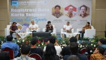 Jenderal Penyelenggaraan Pos dan Informatika Ahmad M. Ramli pada Forum Merdeka Barat 9 Registrasi Data Kartu Telepon:Aman dan Terjamin di Ruang Serba Guna Kementerian Kominfo, Jakarta, Rabu (14/3/2018).
