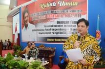 Menteri Perindustrian Airlangga Hartarto saat memberikan kuliah umum di Universitas Tadulako