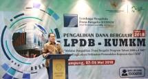 Direktur Utama LPDB KUMKM, Braman Setyo saat membuka acara kordinasi pengalihan dana bergulir tahun 2018 LPDB KUMKM di Bandar Lampung