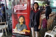Founder Burgreens, Helga Angelina, saat jumpa pers Secangkir Semangat di Menteng, Jakarta. (Dina Astria/Industry.co.id)
