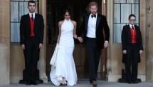 Pangeran Harry dan Meghan Markle menuju tempat resepsi. (Foto:NewYork Times)