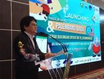 Dirjen Penyelenggaraan Pos dan Informatika Kementerian Kominfo Ahmad M. Ramli saat launching Layanan Palembang Siaga 112 di Griya Agung, Istana Gubernur, Palembang, Sumsel, Kamis (05/07/2018).