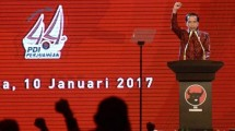Presiden Joko Widodo saat berpidato pada peringatan HUT PDIP ke-44 di Jakarta, Selasa (10/1/2017).(Foto: Biro Pers Setpres)