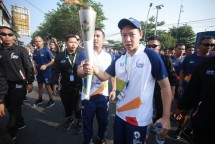 Moriano Utomo saat membawa api obor Asian Games 2018 (Foto: Dok. Industry)