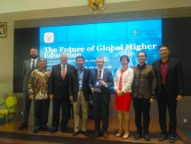 Chairman Jababeka Group SD Darmono dalam diskusi bertajuk The Future of Global Higher Education di Jakarta, Selasa (4/8/2018)