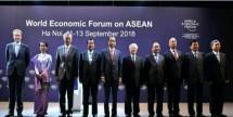 Presiden Joko Widodo bersama sejumlah pimpinan negara dalam acara World Economic Forum on ASEAN (Foto: BPMI Setpres)