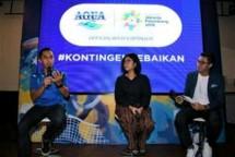 Marketing Manager Danone-AQUA Jeffri Ricardo bersamabDirektur Eksekutif Indorelawan, Maritta C. Rastuti saat konferensi pers Danone-AQUA (Foto: Dok. Danone-AQUA)