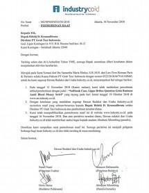 Surat permohonan maaf INDUSTRY.co.id kepda PT Grab Taxi Indonesia