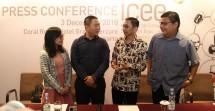 Penyelenggara ICEE 2018 usai memberikan keterangan Pers tentang Penyelenggaraan Pameran Eelktrinik di Indonesia tanggal 8-9 Desember