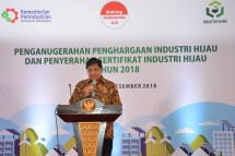 Menteri Perindustrian Airlangga Hartarto saat menyampaikan sambutan pada acara Penganugerahan Industri Hijau (Foto: Kemenperin)