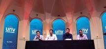 Sales Director Maxima Global Solusindo Anthony Hermansjah (kedua dari kanan) saat peluncuran 3 seri produk CCTV Uniview, Jakarta, Kamis (13/12/2018)