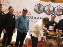 Menkominfo Rudi Antara saat pembukaan Rakornas dan Lokarya Perkumpulan Gerakan Kebangsaan
