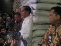 Presiden Jokowi saat meninjau stok beras di Bulog, Kamis (10/1/2019)