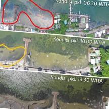 Kondisi terakhir lokasi tumpahan solar di bibir pantai sekitar Jetty Pertamina Parepare (Doc: Pertamina).