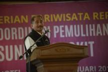 Menteri Pariwisata Arief Yahya saat memberikan sambutan pada acara Rakornas Pemulihan Sektor Pariwisata Selat Sunda Bangkit (Foto: Kemenpar)