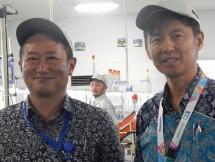 Presiden Direktur PT Panasonic Global Eco Solutions Manufacturing (PESGMFID), Shuichi Kuroi, di posisi sebelah kiri dan didampingi Direktur PESGMFID Bogor, Masahiro Sootoka, di sebelah kanan, ketika memberikan kata sambutan pada acara Kids to Factory