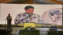 Menteri Perindustrian Airlangga Hartarto saat meresmikan pabrik baru kaca terintegrasi PT. Asahimas Flat Glass di Cikampek (Foto: Ridwan/Industry.co.id)