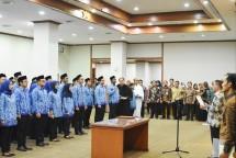 Sekjen Kemenperin Haris Munandar saat pengambilan sumpah Pegawai Negeri Sipil (PNS) baru di lingkungan Kementerian Perindustrian