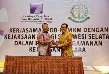 Direktur Utama LPDB-KUMKM Braman Setyo dalam sambutannya pada acara penandatanganan nota kesepahaman bersama atau memorandum of understanding (MoU) antara LPDB-KUMKM dengan Kejaksaan Tinggi Sulawesi Selatan, Makassar.