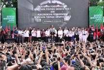 Presiden Joko Widodo meresmikan beroperasinya MRT Jakarta di Bundaran Hotel Indonesia (HI), Jakarta, Minggu (24/3) pagi (Foto: Setkab.go.id)
