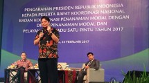 Menteri Perindustrian Airlangga Hartarto Saat Rapat Koordinasi Nasional Badan Koordinasi Penanaman Modal (BKPM) Tahun 2017 di Nusa Dua, Bali