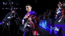 Pebulutangkis Malaysia Chong Wei Lee merayakan kemenangannya di All England, Minggu (12/3/2017). (Tim Goode/PA Images via Getty Images)