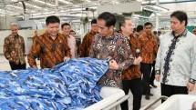 Presiden Joko Widodo melakukan peresmian perluasan pabrik PT Sri Rejeki Isman (Sritex) Tbk, di Kabupaten Sukoharjo, Jawa Tengah.