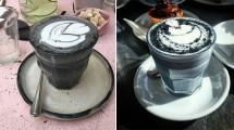 Minuman Latte Berwarna Hitam, 'Latte Goth' (Foto: Boredpanda)